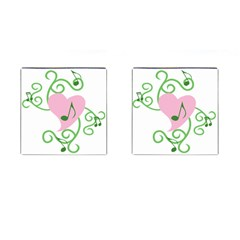Sweetie Belle s Love Heart Music Note Leaf Green Pink Cufflinks (square)