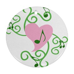 Sweetie Belle s Love Heart Music Note Leaf Green Pink Round Ornament (Two Sides)