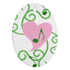 Sweetie Belle s Love Heart Music Note Leaf Green Pink Oval Ornament (Two Sides)