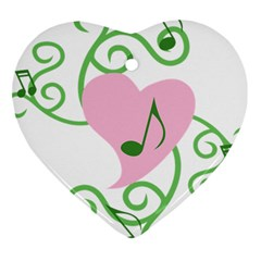 Sweetie Belle s Love Heart Music Note Leaf Green Pink Heart Ornament (Two Sides)