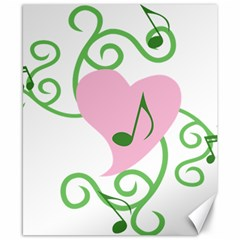 Sweetie Belle s Love Heart Music Note Leaf Green Pink Canvas 8  x 10