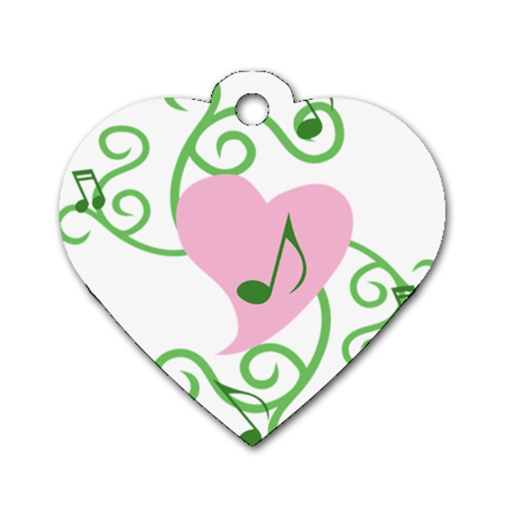 Sweetie Belle s Love Heart Music Note Leaf Green Pink Dog Tag Heart (One Side)