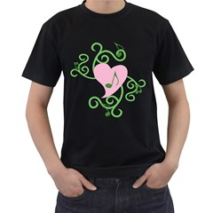 Sweetie Belle s Love Heart Music Note Leaf Green Pink Men s T-Shirt (Black)