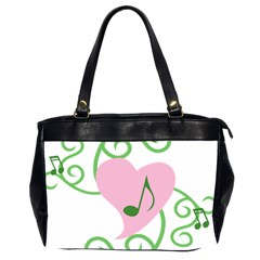 Sweetie Belle s Love Heart Music Note Leaf Green Pink Office Handbags (2 Sides)