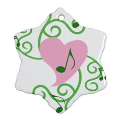 Sweetie Belle s Love Heart Music Note Leaf Green Pink Snowflake Ornament (Two Sides)