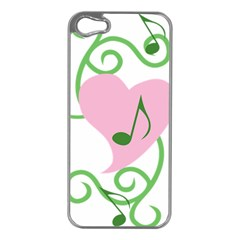 Sweetie Belle s Love Heart Music Note Leaf Green Pink Apple iPhone 5 Case (Silver)