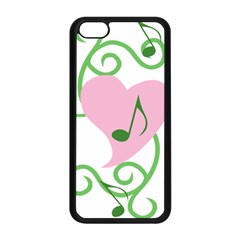 Sweetie Belle s Love Heart Music Note Leaf Green Pink Apple iPhone 5C Seamless Case (Black)