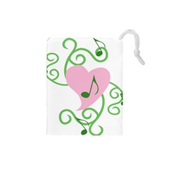 Sweetie Belle s Love Heart Music Note Leaf Green Pink Drawstring Pouches (Small)