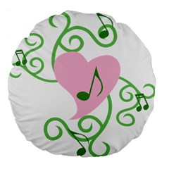 Sweetie Belle s Love Heart Music Note Leaf Green Pink Large 18  Premium Flano Round Cushions