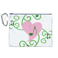 Sweetie Belle s Love Heart Music Note Leaf Green Pink Canvas Cosmetic Bag (XL)
