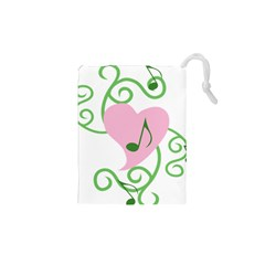 Sweetie Belle s Love Heart Music Note Leaf Green Pink Drawstring Pouches (XS)