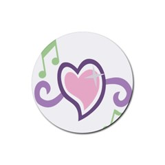 Sweetie Belle s Love Heart Star Music Note Green Pink Purple Rubber Coaster (round)