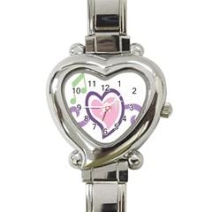 Sweetie Belle s Love Heart Star Music Note Green Pink Purple Heart Italian Charm Watch