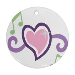Sweetie Belle s Love Heart Star Music Note Green Pink Purple Round Ornament (two Sides)