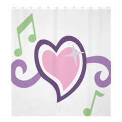 Sweetie Belle s Love Heart Star Music Note Green Pink Purple Shower Curtain 66  x 72  (Large)