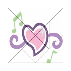 Sweetie Belle s Love Heart Star Music Note Green Pink Purple Acrylic Tangram Puzzle (6  x 6 )