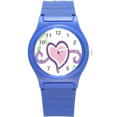 Sweetie Belle s Love Heart Star Music Note Green Pink Purple Round Plastic Sport Watch (S)