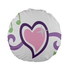 Sweetie Belle s Love Heart Star Music Note Green Pink Purple Standard 15  Premium Round Cushions