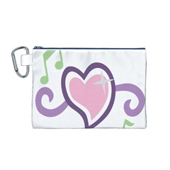 Sweetie Belle s Love Heart Star Music Note Green Pink Purple Canvas Cosmetic Bag (M)