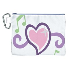 Sweetie Belle s Love Heart Star Music Note Green Pink Purple Canvas Cosmetic Bag (XXL)