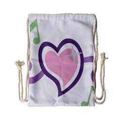 Sweetie Belle s Love Heart Star Music Note Green Pink Purple Drawstring Bag (Small)