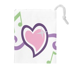 Sweetie Belle s Love Heart Star Music Note Green Pink Purple Drawstring Pouches (Extra Large)