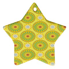 Sunflower Floral Yellow Blue Circle Ornament (Star)
