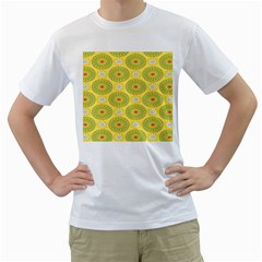Sunflower Floral Yellow Blue Circle Men s T Shirt (white) (two Sided)