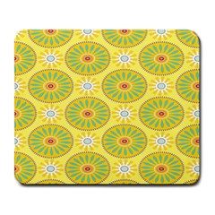 Sunflower Floral Yellow Blue Circle Large Mousepads