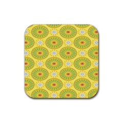 Sunflower Floral Yellow Blue Circle Rubber Square Coaster (4 pack)