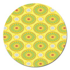 Sunflower Floral Yellow Blue Circle Magnet 5  (Round)