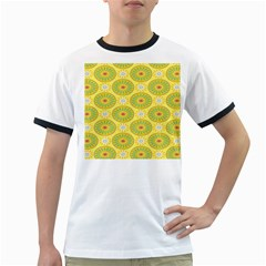 Sunflower Floral Yellow Blue Circle Ringer T-Shirts