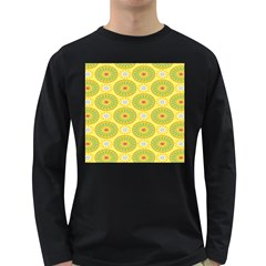 Sunflower Floral Yellow Blue Circle Long Sleeve Dark T-Shirts