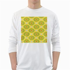 Sunflower Floral Yellow Blue Circle White Long Sleeve T-Shirts