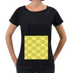 Sunflower Floral Yellow Blue Circle Women s Loose Fit T Shirt (black)