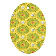 Sunflower Floral Yellow Blue Circle Oval Ornament (Two Sides)