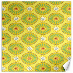 Sunflower Floral Yellow Blue Circle Canvas 16  x 16