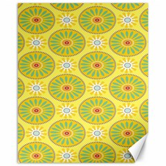 Sunflower Floral Yellow Blue Circle Canvas 16  x 20