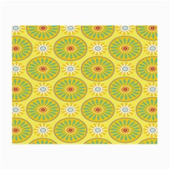Sunflower Floral Yellow Blue Circle Small Glasses Cloth (2-Side)