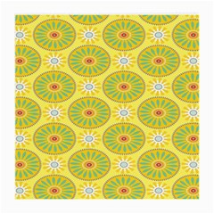 Sunflower Floral Yellow Blue Circle Medium Glasses Cloth (2-Side)