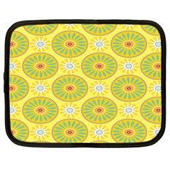 Sunflower Floral Yellow Blue Circle Netbook Case (Large)