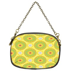 Sunflower Floral Yellow Blue Circle Chain Purses (Two Sides)