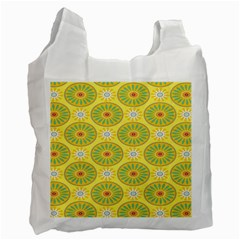 Sunflower Floral Yellow Blue Circle Recycle Bag (two Side)