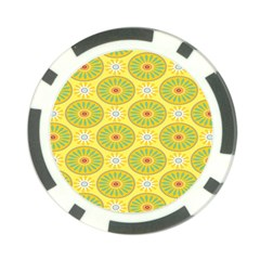 Sunflower Floral Yellow Blue Circle Poker Chip Card Guard (10 pack)