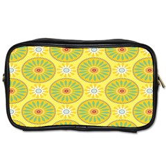 Sunflower Floral Yellow Blue Circle Toiletries Bags 2-Side