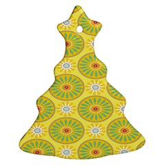 Sunflower Floral Yellow Blue Circle Ornament (Christmas Tree)