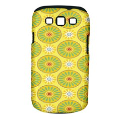Sunflower Floral Yellow Blue Circle Samsung Galaxy S III Classic Hardshell Case (PC+Silicone)
