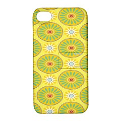 Sunflower Floral Yellow Blue Circle Apple iPhone 4/4S Hardshell Case with Stand