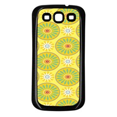 Sunflower Floral Yellow Blue Circle Samsung Galaxy S3 Back Case (Black)