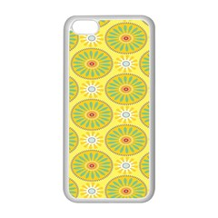 Sunflower Floral Yellow Blue Circle Apple iPhone 5C Seamless Case (White)